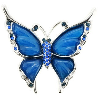 Silvertone Blue Crystal Butterfly Brooch