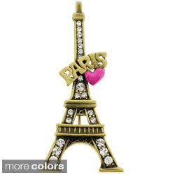 Goldtone Crystal 'Paris' Eiffel Tower and Heart Brooch