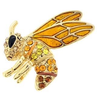 Goldtone Yellow and Brown Crystal Bee Brooch