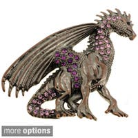 Plated Purple or Blue Crystal Flying Dragon Brooch
