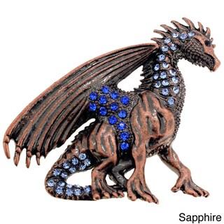 Plated Purple or Blue Crystal Flying Dragon Brooch