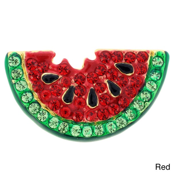 Goldtone Red or Pink Crystal Watermelon Brooch