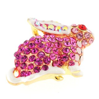 Goldtone Pink, Red and White Crystal Rabbit Brooch