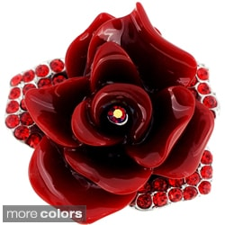 Crystal Rose Flower Pin Brooch
