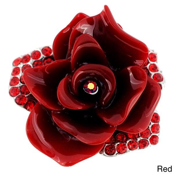 Crystal Rose Flower Pin Brooch
