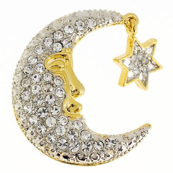 Half-Moon Face And Star Pin Crystal Brooch Pin