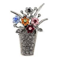 Vintage Style Flower Basket Crystal Pin Brooch