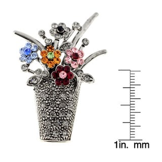 Vintage Style Flower Basket Crystal Pin Brooch