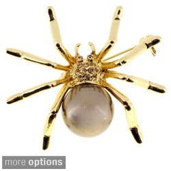 Goldtone or Silvertone Faux Pearl and Crystal Spider Brooch