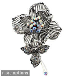 Silvertone or Goldtone Crystal Flower Brooch
