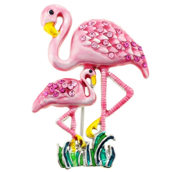 Pink Flamingos Crystal Pin Brooch