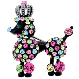 Multicolor Crystal Black Poodle Pin Brooch