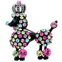 Multicolor Crystal Black Poodle Pin Brooch