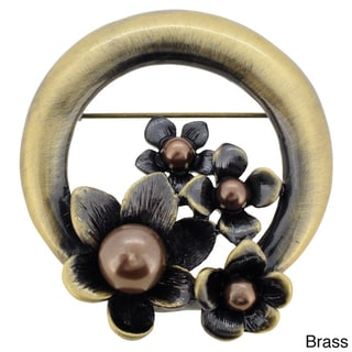 Vintage Style Pearl Black Flower Wreath Pin Brooch