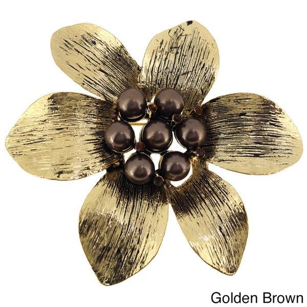 Goldtone or Black-plated Faux Pearl Flower Brooch