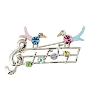 Multicolor Bird Notes Crystal Pin Brooch