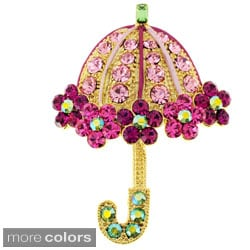 Black or Goldtone Crystal Lady Umbrella Brooch
