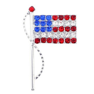 American Flag Austrian Crystal Pin Brooch