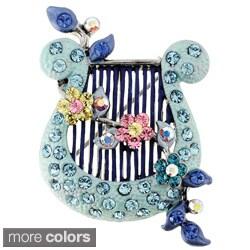 Light Blue Harp Vintage Style Pin Brooch