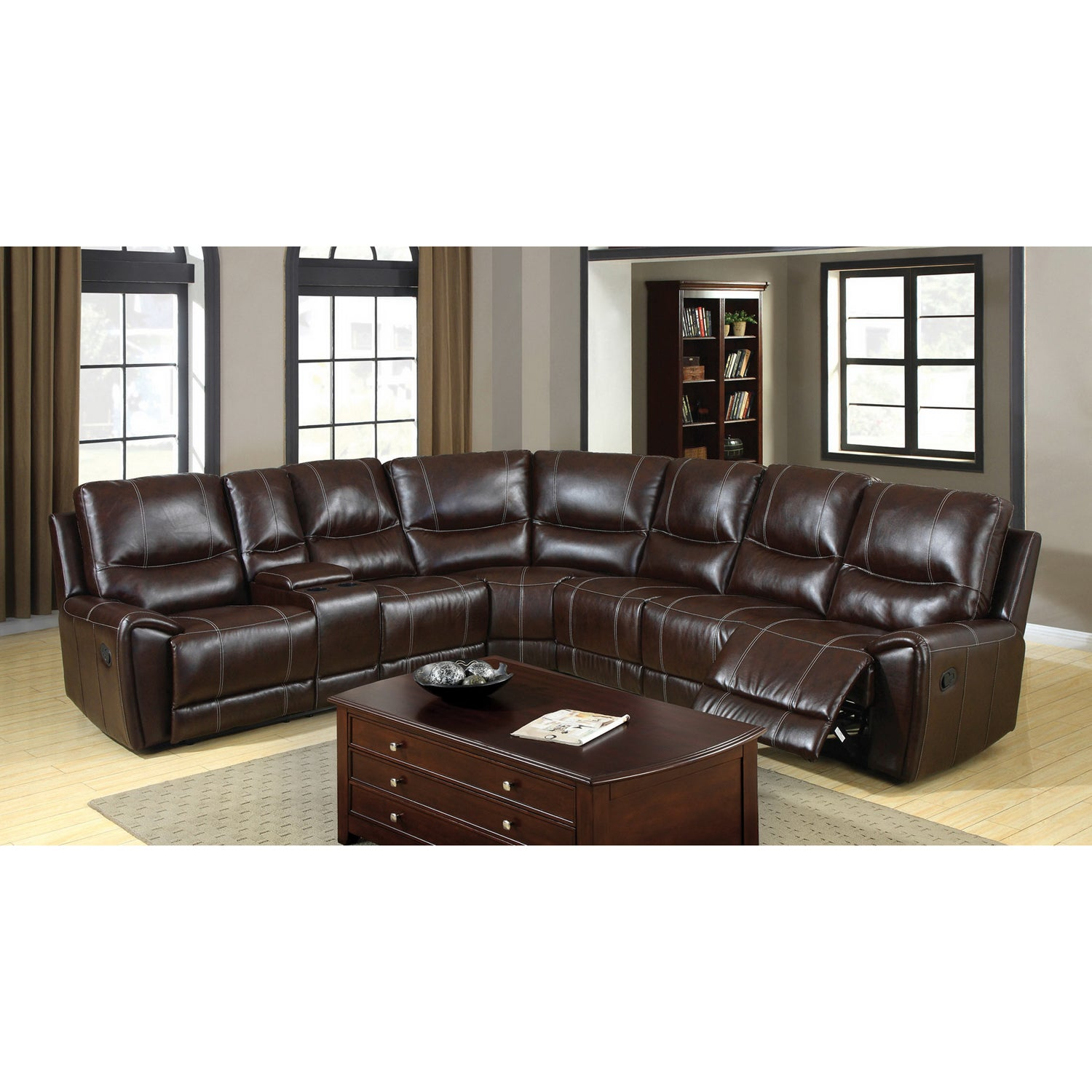 Dotti Contemporary Brown 4 Piece Sectional Set By Foa