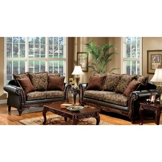 Furniture of America Ruthy Traditional Dark Brown Floral Sofa/ Loveseat Set