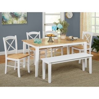 simple living tiffany 6 piece dining set with dining bench
