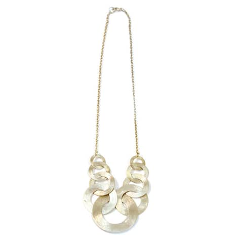 Handmade Silverplated Ring Link Necklace (India)