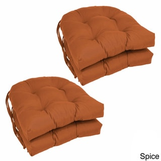 Blazing Needles 16-inch U-shaped Tufted Twill Dining Chair Cushions (Set of 4)