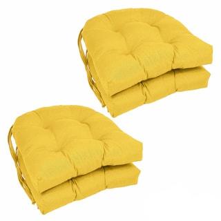 Blazing Needles 16-inch U-shaped Tufted Twill Dining Chair Cushions (Set of 4)