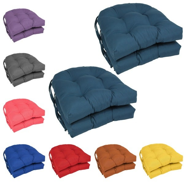 Blazing Needles 16 Inch U Shaped Tufted Twill Dining Chair Cushions Set Of