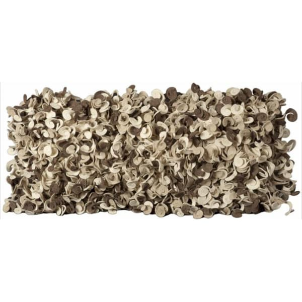 Mina Victory Felt Abstract Brown/ Beige 14 x 30-inch Decorative Pillow by Nourison