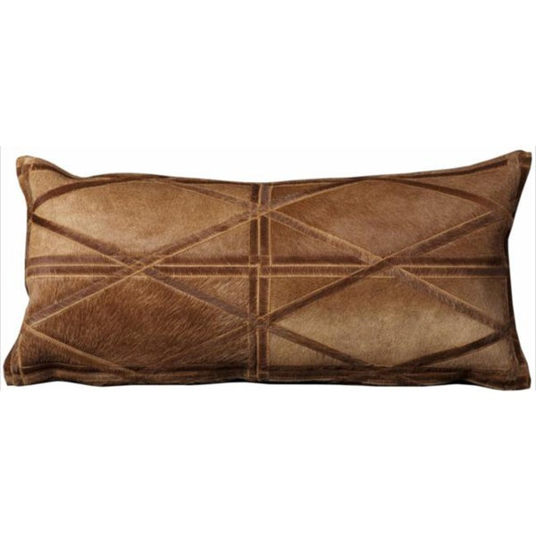 Mina Victory Natural Leather and Hide Criss Cross Amber Throw Pillow (14-inch x 30-inch) by Nourison