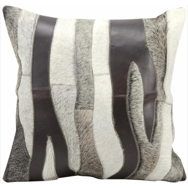Mina Victory Natural Leather and Hide Zebra Chocolate/Silver Throw Pillow (20-inch x 20-inch) by Nourison