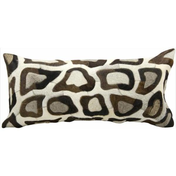 Mina Victory Natural Leather and Hide Cobble Stone Silver Throw Pillow (14-inch x 30-inch) by Nourison