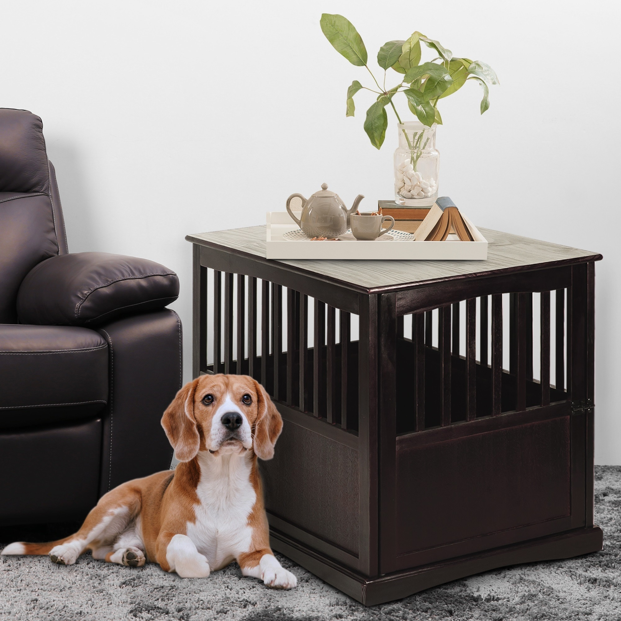 Wooden End Table and Pet Crate (Brown - Large)