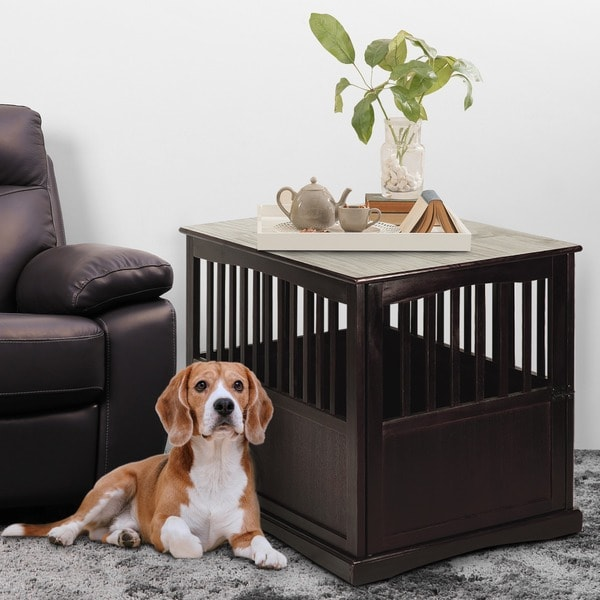 Wooden End Table And Pet Crate   Free Shipping Today   Overstock.com    15293900