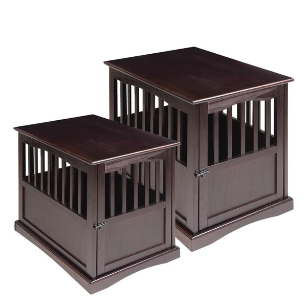 Delightful Wooden End Table And Pet Crate   Free Shipping Today   Overstock.com    15293900