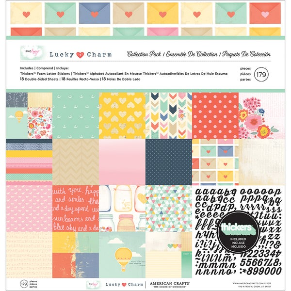 """Dear Lizzy Lucky Charm Collection Pack 12""""X12""""-18 Double-Sided Papers + Alpha Thickers"""