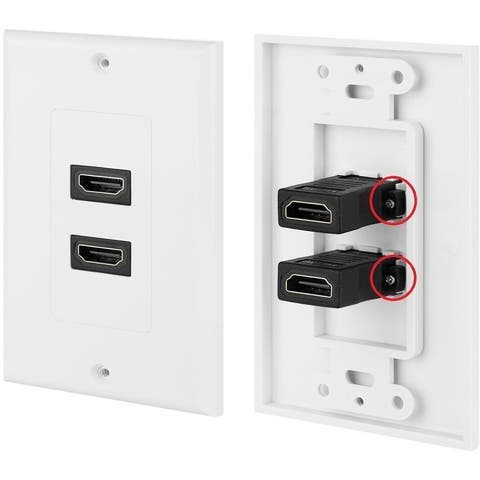 4XEM 2 Port/Outlet Female HDMI Wall Plate (White)