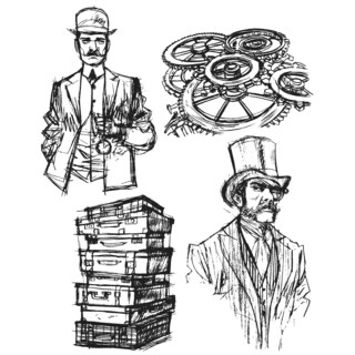 Tim Holtz Cling Rubber Stamp Set-Time Travelers
