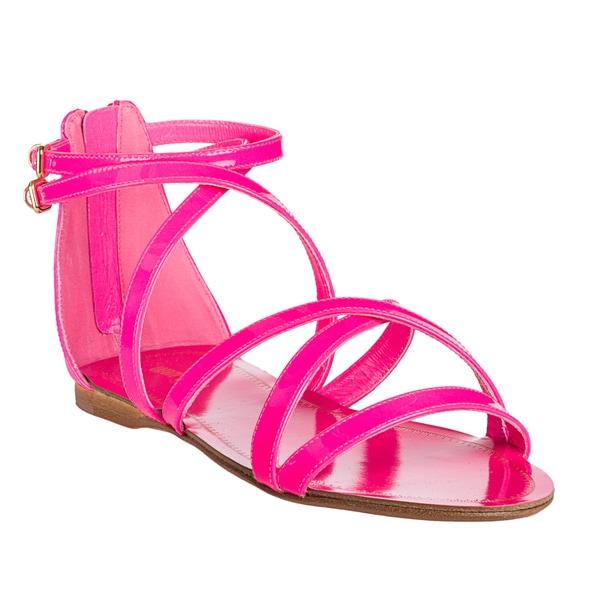 Miu Miu Women's Neon Pink Patent Leather Strappy Flat Sandals