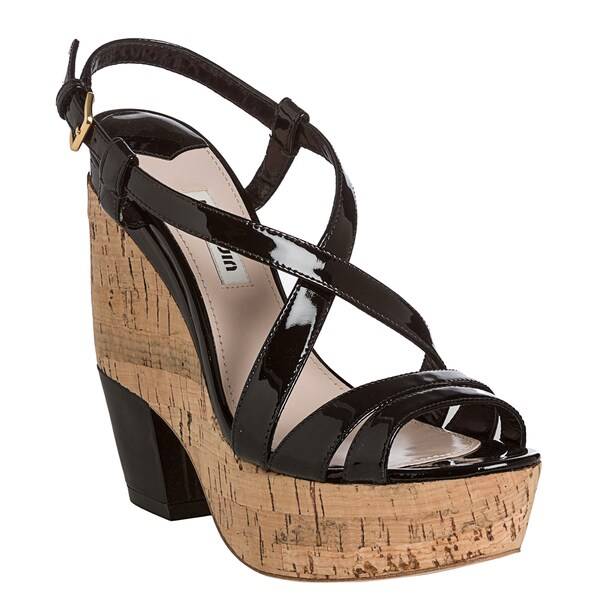 Miu Miu Women's Black Patent Leather Cork Platform Sandals