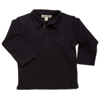 Burberry Toddler Boys' Marine Check Pique Long Sleeve Polo