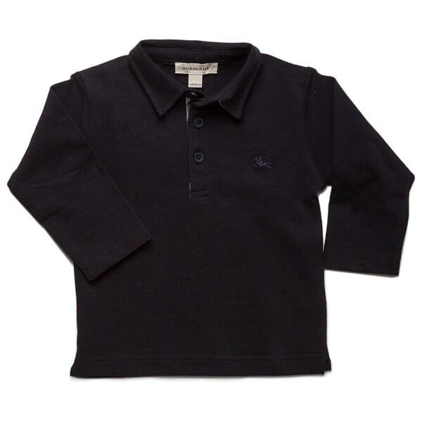 Burberry Toddler Boys' Marine Check Pique Long Sleeve Polo