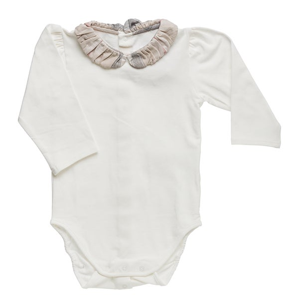 Burberry Infant Girl's Off-white Pleated Check Collar Bodysuit
