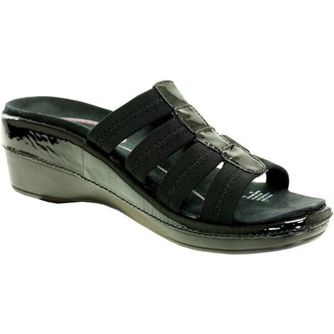 Klogs Womens Acapulco Black Patent Leather Accent Sandals