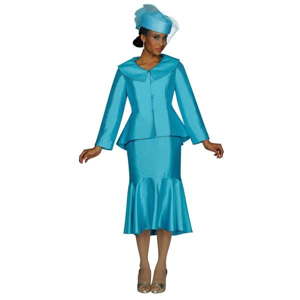 Divine Apparel Women's Turquoise Skirted Suit Set