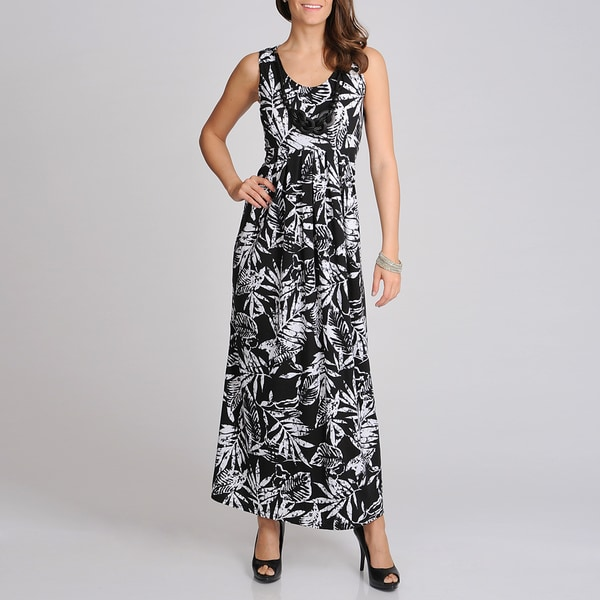 Lennie for Nina Leonard Women's Black and White Tropical Print Maxi Dress