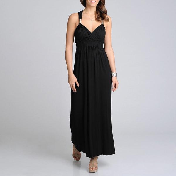 Lennie for Nina Leonard Women's Black Metal Strap Maxi Dress