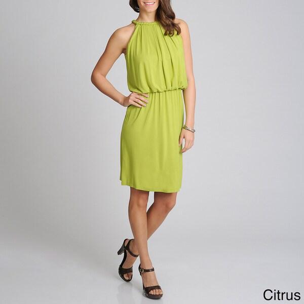 Lennie for Nina Leonard Women's Braided Trim Blouson Dress